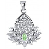 Lotus Flower of Life Peridot Pendant Jewelry Gem Shop  Sterling Silver Jewerly | Gemstone Jewelry | Unique Jewelry