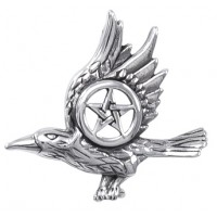 Raven with Pentagram Sterling Silver Pendant