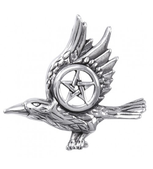 Raven with Pentagram Sterling Silver Pendant at Jewelry Gem Shop,  Sterling Silver Jewerly   Gemstone Jewelry   Unique Jewelry