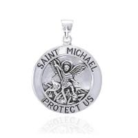 Saint Michael Large Silver Pendant