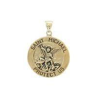 Saint Michael Solid Gold Large Pendant