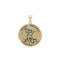 Saint Michael Solid Gold Medium Pendant