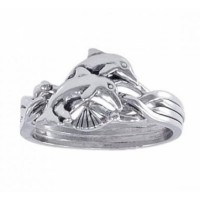 Silver Dolphin Puzzle Ring