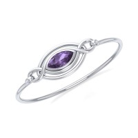 Silver Filigree Bracelet with Amethyst Gemstone