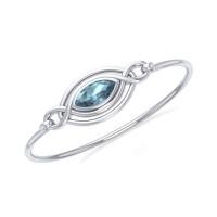 Silver Filigree Bracelet with Blue Topaz Gemstone