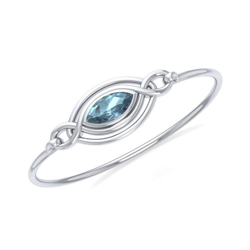 Silver Filigree Bracelet with Blue Topaz Gemstone