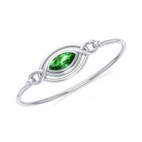 Silver Filigree Bracelet with Emerald Gemstone