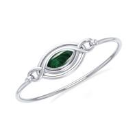 Silver Filigree Bracelet with Malachite Gemstone