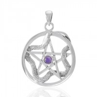 Star and Weaving Snake Silver Pendant with Amethyst