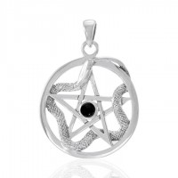 Star and Weaving Snake Silver Pendant with Black Onyx