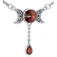 Celtic Triple Moon Necklace with Garnet for Manifestation