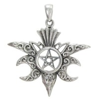 Raven Pentacle Moon Mystical Pendant