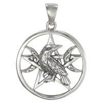 Raven Pentacle Moon Sterling Silver Pendant Jewelry Gem Shop  Sterling Silver Jewerly | Gemstone Jewelry | Unique Jewelry
