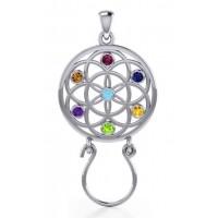 Flower of Life Charm Holder with Gemstones