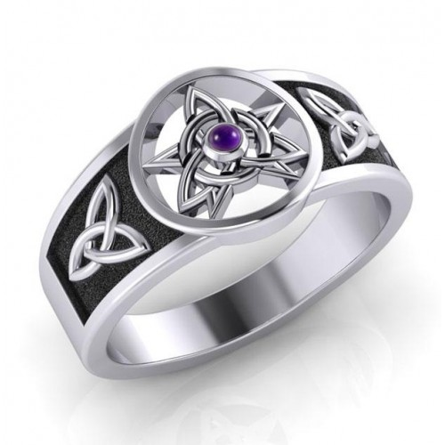 Celtic Trinity Pentacle Amethyst Ring at Jewelry Gem Shop,  Sterling Silver Jewerly | Gemstone Jewelry | Unique Jewelry