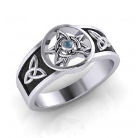 Celtic Trinity Pentacle Blue Topaz Ring
