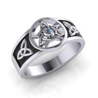 Celtic Trinity Pentacle Blue Topaz Ring