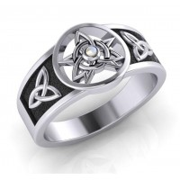 Celtic Trinity Pentacle Rainbow Moonstone Ring