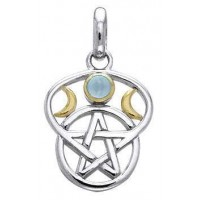 Triple Moon Pentacle Pendant with Gemstone Jewelry Gem Shop  Sterling Silver Jewerly | Gemstone Jewelry | Unique Jewelry