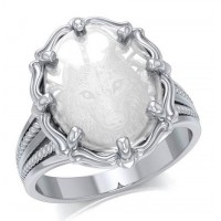 Wolf Sterling Silver Ring with Natural Clear Quartz