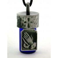 Praying Hands Pewter Bottle Necklace