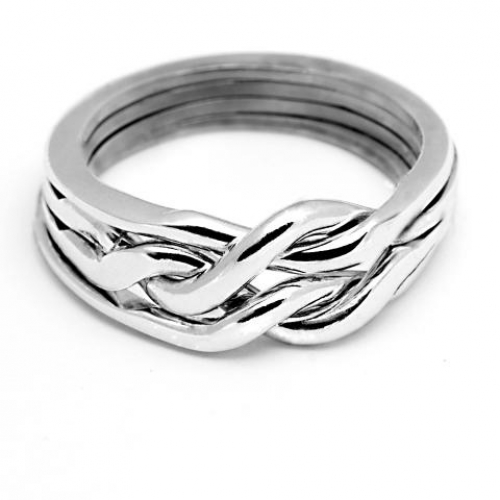 4 Band Heavy Chain Puzzle Ring at Jewelry Gem Shop,  Sterling Silver Jewerly | Gemstone Jewelry | Unique Jewelry