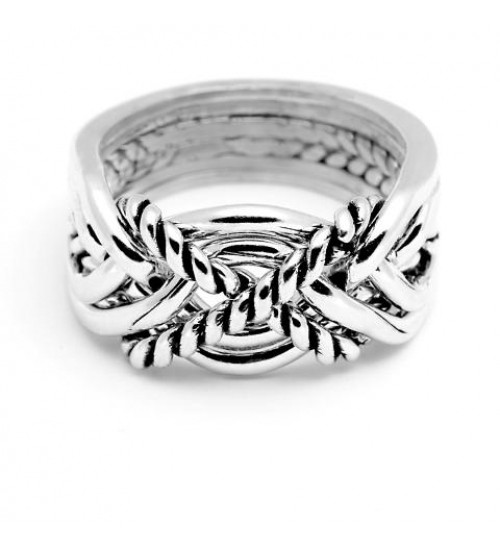 6 Band Turkish Twist Heavy Puzzle Ring at Jewelry Gem Shop,  Sterling Silver Jewerly | Gemstone Jewelry | Unique Jewelry