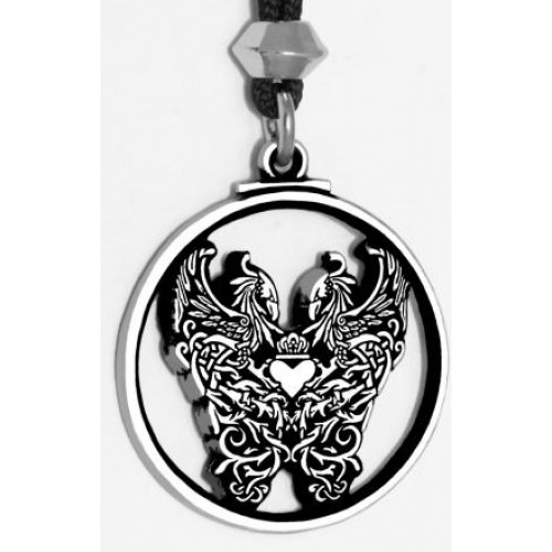 Double Phoenix Pewter Pendant at Jewelry Gem Shop,  Sterling Silver Jewerly | Gemstone Jewelry | Unique Jewelry