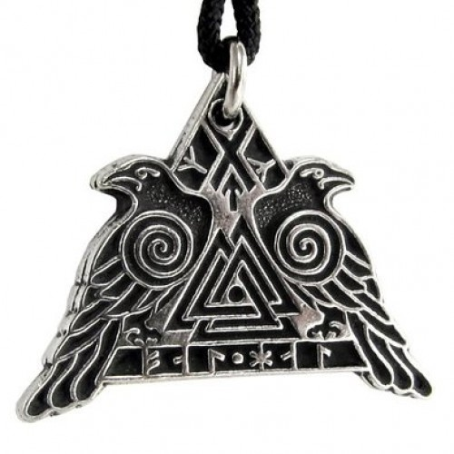 Valknut Raven Warrior Odin Huginn and Muninn Pewter Necklace at Jewelry Gem Shop,  Sterling Silver Jewerly | Gemstone Jewelry | Unique Jewelry