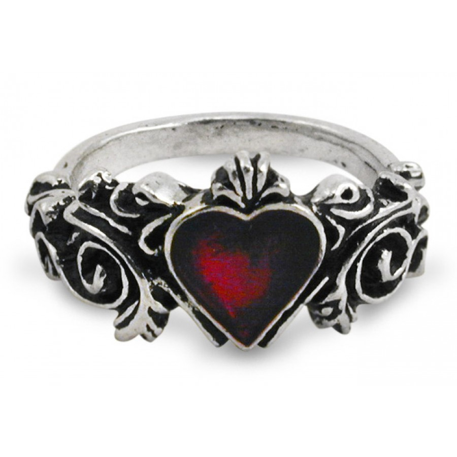 Gothic Wedding Rings.Betrothal Gothic Heart Pewter Ring
