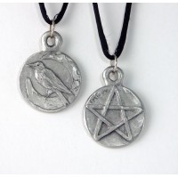 Raven Pentacle Double Sided Pewter Necklace