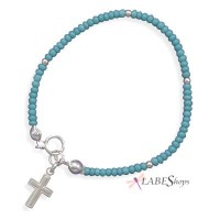 Turquoise Glass Bead Bracelet with Cross Jewelry Gem Shop  Sterling Silver Jewerly | Gemstone Jewelry | Unique Jewelry