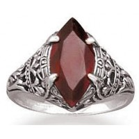 Garnet Antiqued Sterling Silver Ring