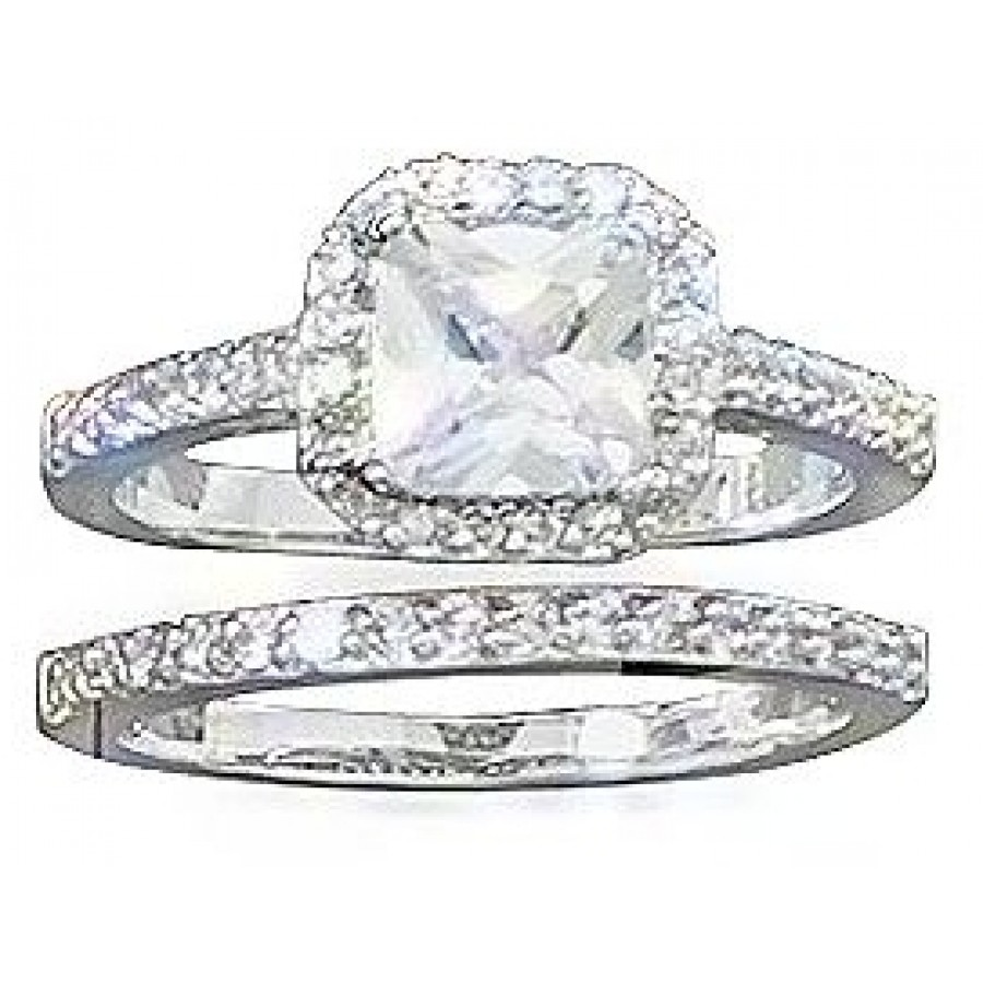 Square Double Band Sterling Silver Wedding Ring Set