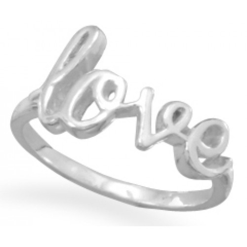 Love Script Sterling Silver Ring at Jewelry Gem Shop,  Sterling Silver Jewerly | Gemstone Jewelry | Unique Jewelry