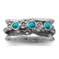 Hammered Silver Spinner Ring with Turquoise