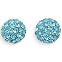 Pale Blue Shambala Crystal Ball Earrings