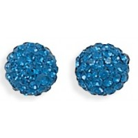 Deep Blue Shambala Crystal Ball Earrings