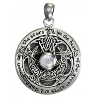 Rainbow Moonstone Moon Pentacle Sterling Silver Pendant