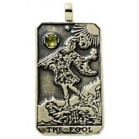 The Fool Large Gemstone Tarot Pendant Jewelry Gem Shop  Sterling Silver Jewerly | Gemstone Jewelry | Unique Jewelry