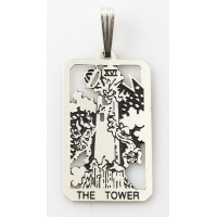 The Tower Small Tarot Pendant Jewelry Gem Shop  Sterling Silver Jewerly | Gemstone Jewelry | Unique Jewelry