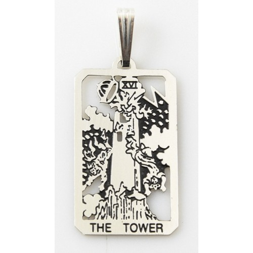 The Tower Small Tarot Pendant at Jewelry Gem Shop,  Sterling Silver Jewerly   Gemstone Jewelry   Unique Jewelry