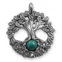Celtic Tree of Life Sterling Silver Pendant with Gemstone