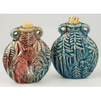 Wolf Raku Oil Bottle Necklace