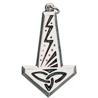 Thors Hammer with Lightning Bolt Pendant