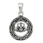 Celtic Claddagh Sterling Silver Pendant for Love at Jewelry Gem Shop,  Sterling Silver Jewerly | Gemstone Jewelry | Unique Jewelry